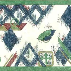 Diamond Vintage Wallpaper Border Blue Green 105219 FREE Ship