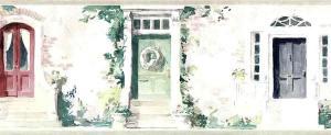 cottage doors wallpaper border, watercolor, handprint, green, flowers