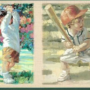 Boys Sports Wallpaper Border Children Baseball Golf PR4061B FREE Ship