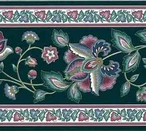 Vintage Green Paisley Wallpaper Border Pink Floral LMB11205 FREE Ship