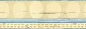 Egg Shapes vintage Wallpaper Border, Taupe, Cream, Blue