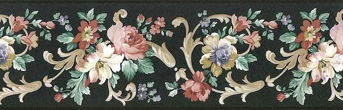 Black Floral vintage Wallpaper Border, Gold, Cream, Pink