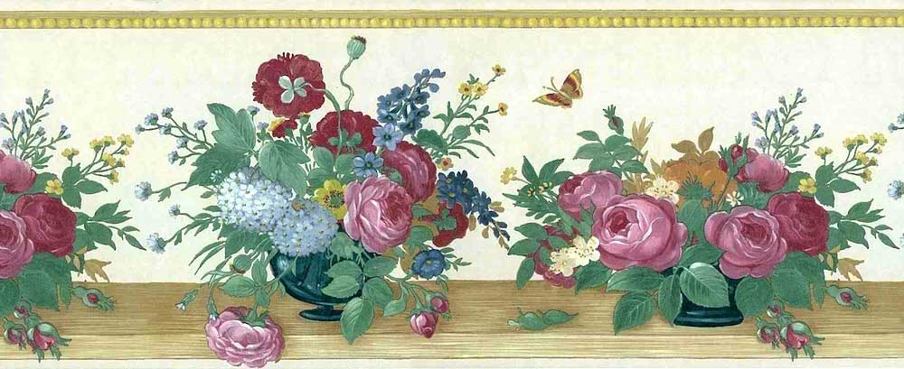 Floral Bouquet vintage Border, Textured, Glazed, red, green