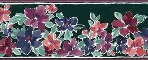 Impressionistic Green Floral Vintage Wallpaper Border