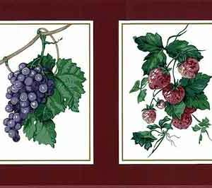 Waverly Fruit Vintage Wallpaper Border Red Kitchen 570522 FREE Ship