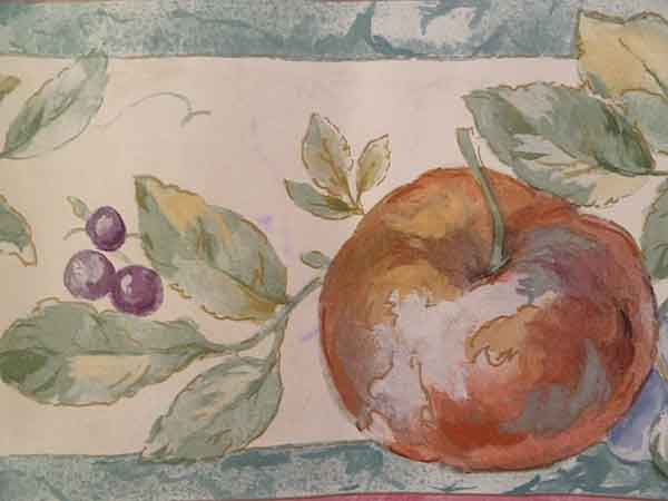 Cream Fruit Wallpaper Border with Green Faux Marble Edges