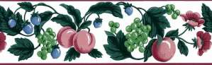 Waverly Fruit Wallpaper Border with Flowers on white