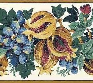 Pomegranates Vintage Wallpaper Border Fruit Kitchen TC11312 Free Ship