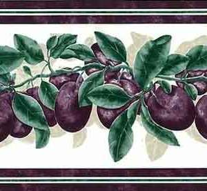Plums Vintage Wallpaper Border Kitchen Purple Cottage KI18509 FREE Ship