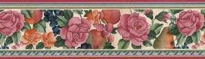 Fruit Floral Vintage Wallpaper Border in Pinks & Greens