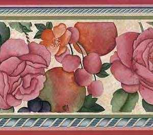 Fruit Floral Vintage Wallpaper Border Kitchen Pink Roses 93932 FREE Ship