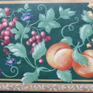 Green Fruit Medley Vintage Wallpaper Border Kitchen Floral DES81934 FREE Ship