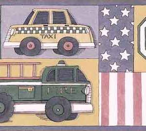Vehicles Vintage Wallpaper Border Taxi Children GW2001B FREE Ship