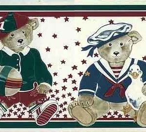 Bears Vintage Wallpaper Border Sports Kids CD2082B FREE Ship