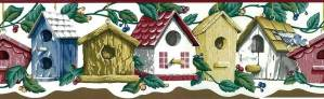 Vintage Bird Houses Wallpaper Border in White, Green, Red, Blue & Yellow
