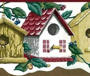 Vintage Bird Houses Wallpaper Border Kitchen PIE4043B FREE Ship