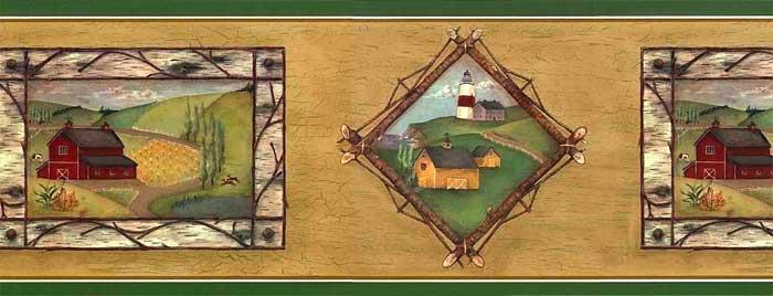 Bark Framed Primitive Wallpaper Border 15 Feet Acb46014