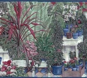 Vintage Greenhouse Wallpaper Border Kitchen Floral NS30952 FREE Ship