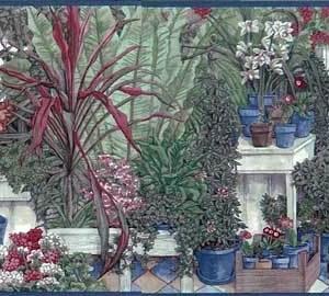 Vintage Greenhouse Wallpaper Border Kitchen Floral NS30952 FREE Ship