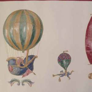 Hot Air Balloons Wallpaper Border Boats Gold Cream 145232 FREE Ship
