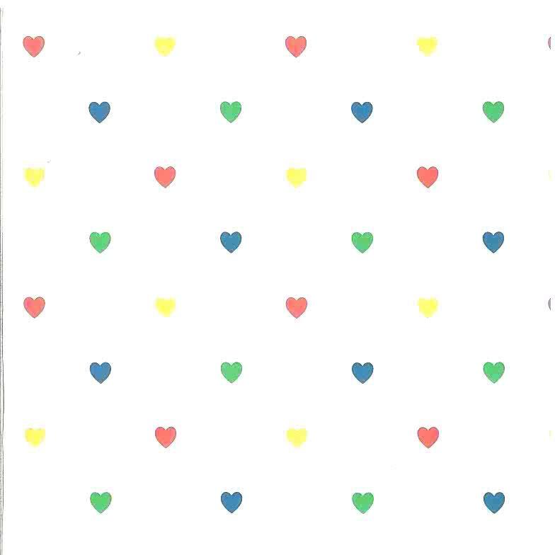 childrens hearts vintage wallpaper,red,green,blue,yellow,kids,nursery,bedroom,playroom