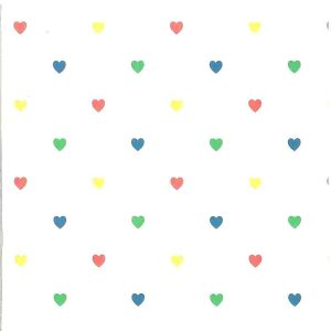 Childrens Hearts Vintage Wallpaper Red Blue Green 32581 D/Rs