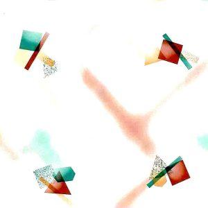 geometric vintage wallpaper peach teal,