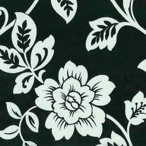 silver metallic paisley wallpaper, black, floral, flowers, Art Nouveau