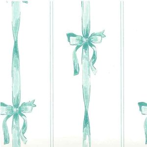 Vintage Wallpaper Teal Ribbons Bows Off-White 586632 D/Rs