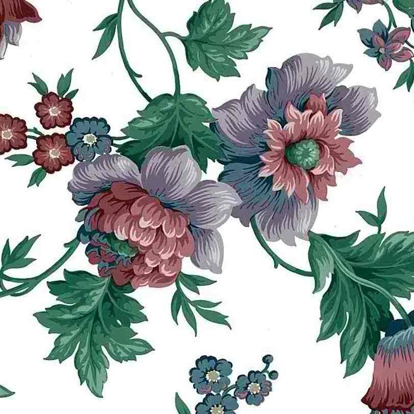 vintage cottage floral wallpaper, English, UK, anemones, rose, purple, blue, green
