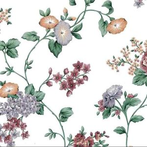Morning Glories Floral Vintage Wallpaper Lavender Cottage D/Rs