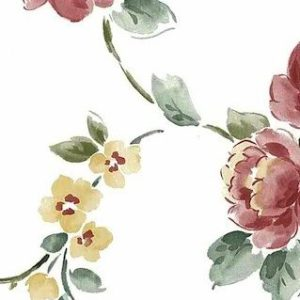 Peony Floral Vintage Wallpaper Pink Green Yellow White KM3084 D/Rs