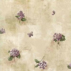 Lilacs Vintage Wallpaper Kitchen Purple Green Floral Butterflies IB4025 D/Rs