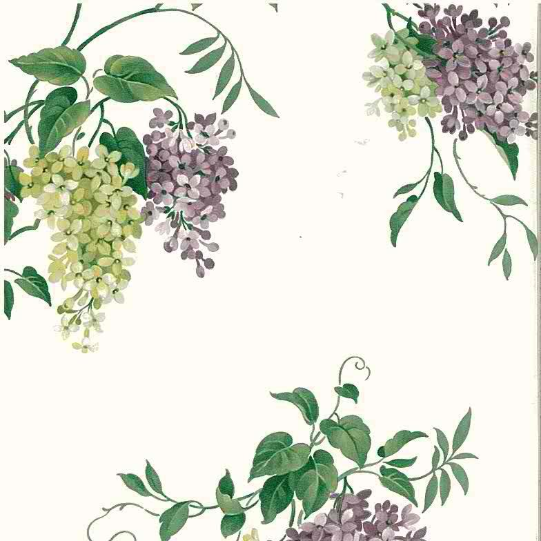 vintage wallpaper hydrangea floral, purple, green, white
