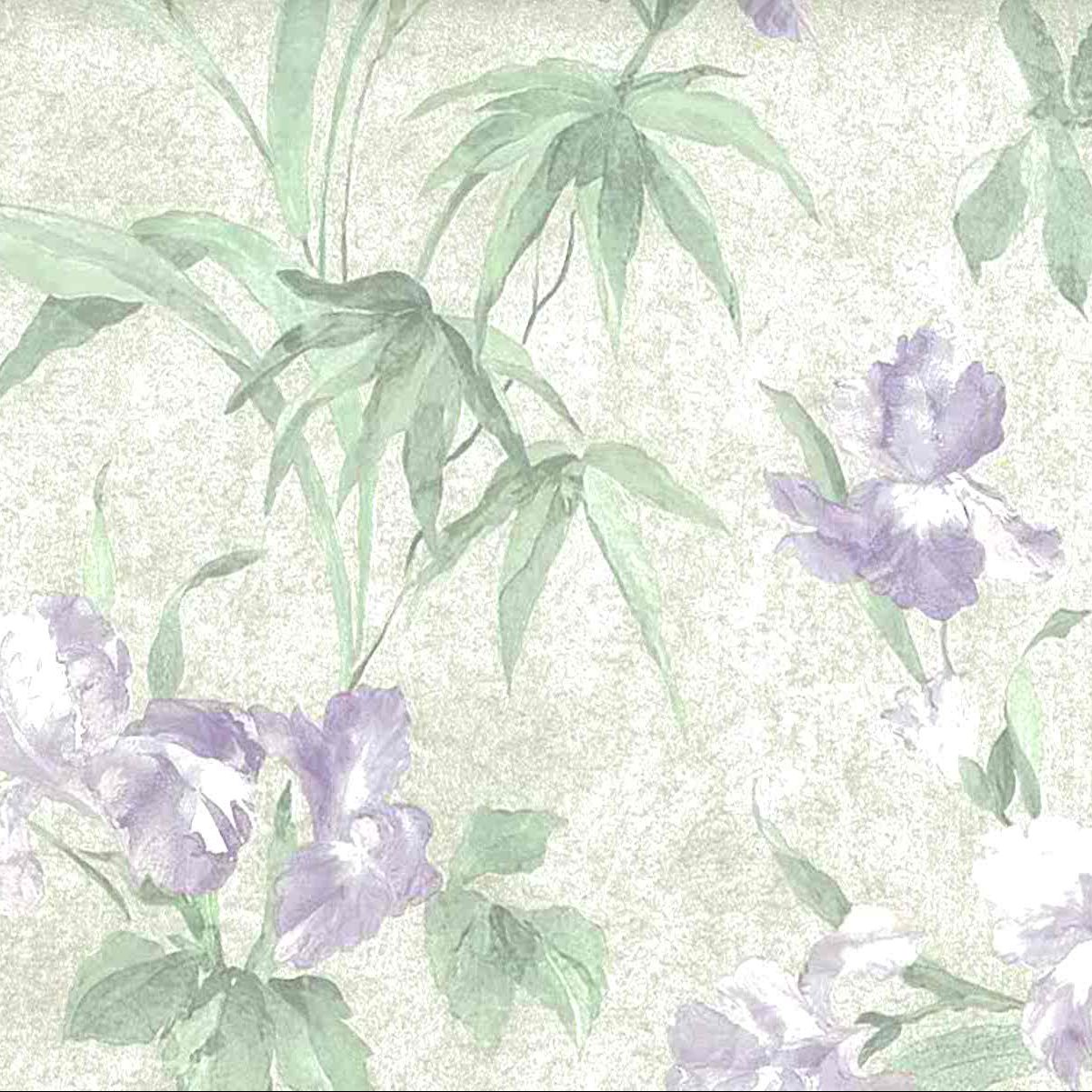 Iris Vintage Wallpaper Purple Green Textured 66 Feet Fd66621 D Rs