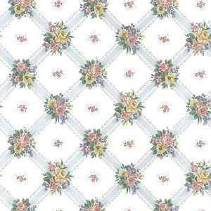 blue lattice vintage wallpaper, yellow, pink, green, cottage, bedroom, flowers