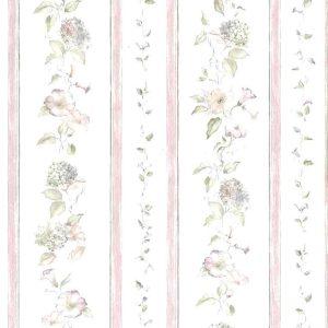 Morning Glories Vintage Wallpaper Stripe 72334 Double Rolls