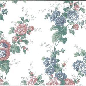 Peony Floral Vintage Wallpaper Pink Blue Bedroom 595512 D/Rs