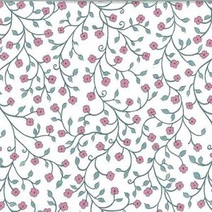 Victorian floral vintage wallpaper, pink, blue white coutry cottage