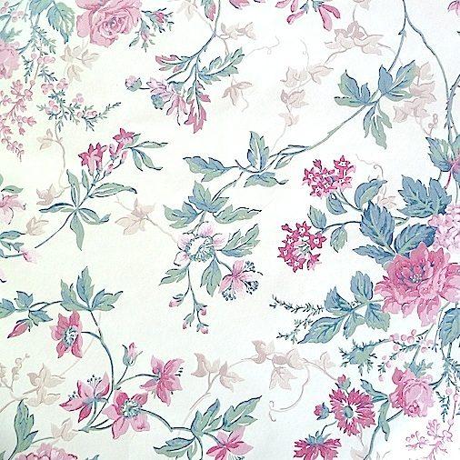 cottage floral vintage wallpaper,pink green, beige, ivy, cream