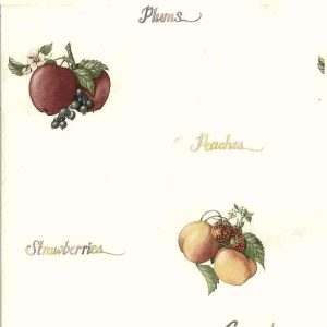 Script Vintage Wallpaper Kitchen Apples Grapes Plum FM7306 D/Rs