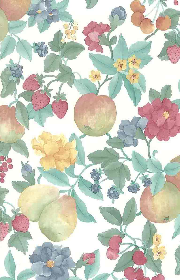 Pears Berries Vintage Wallpaper Floral Yellow Green Red 19803 D Rs