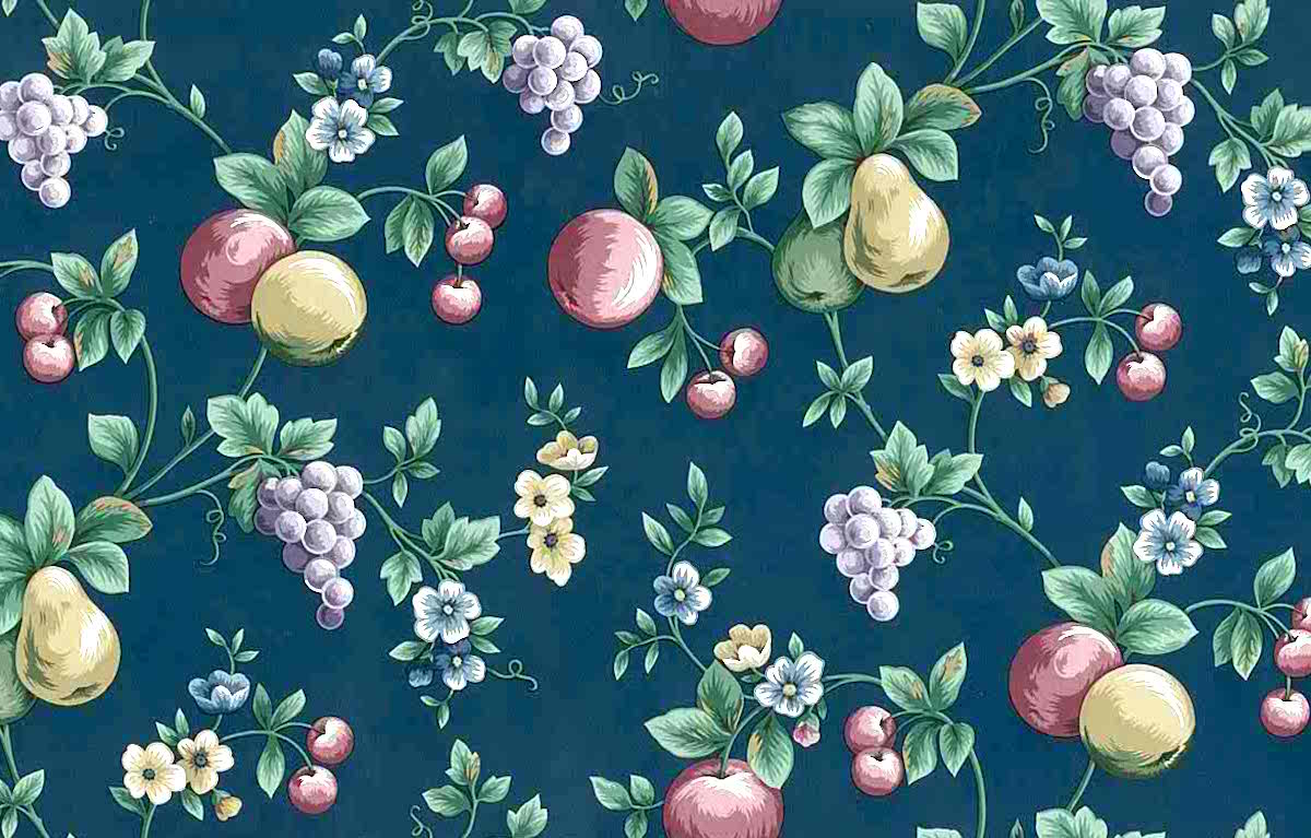 Navy Fruit Vintage Wallpaper Grapes Pears Kitchen 598592 D Rs