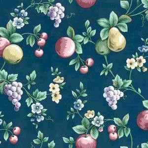Navy Fruit Vintage Wallpaper Kitchen Grapes Pears 598592 D/Rs