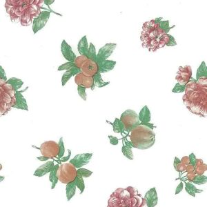 Fruit flowers vintage wallpaper,peach,rose,Shand Kydd