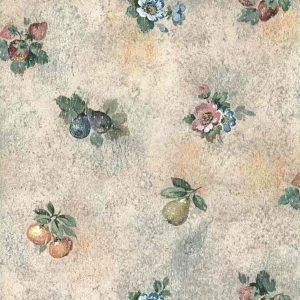 pink faux fruit vintage wallpaper, strawberries, plums, pears, pink, blue