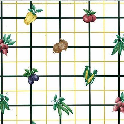 veggie check vintage wallpaper, corn, peas, yellow, black, white, green