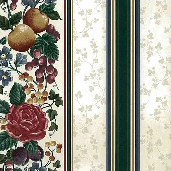 vintage wallpaper fruit floral stripe, roses, plums, peaches, grapes, red, green, yellow