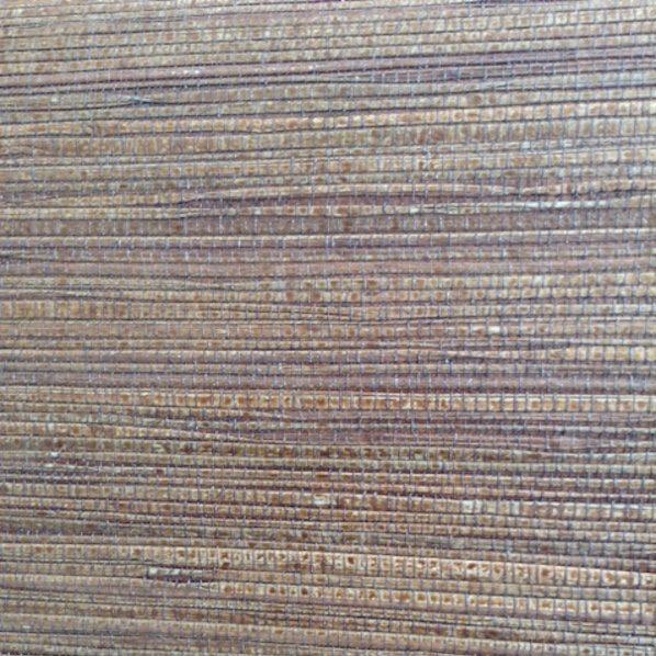 Dark brown natural grasscloth wallpaper, bronze, Asian/Oriental style, living room, dining room, foyer, study, textured