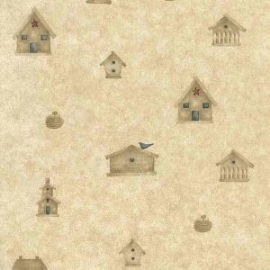 Birdhouses Vintage Wallpaper Kitchen Beige Mumm Blue Red DM7043 D/Rs